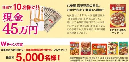 クイズで当たる!麻婆豆腐の素 発売45周年ありがとうキャンペーン│丸美屋