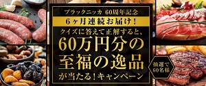6ヶ月連続でお届け☆asahi「ブラックニッカ 60万円分の至福の逸品が当たる!キャンペーン」