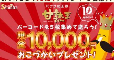 【ハガキ懸賞】合計1,000名様に当たる☆甘熟王「10,000円おこづかいプレゼント」
