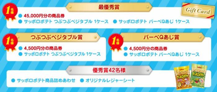 最優秀賞は45,000円分の商品券とサッポロポテト☆Calbee「サッポロポテトとの想い出大募集!」