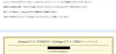 モニプラのWチャンスキャンペーンで「Amazonギフト券 500円分」が当選
