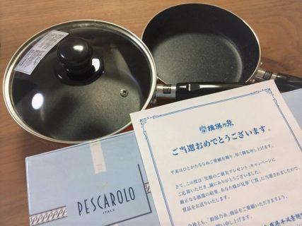揖保乃糸のハガキ懸賞で「片手鍋&フライパン」が当選