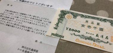 Yストア&オハヨー乳業のハガキ懸賞で「商品券 1,000円分」が当選