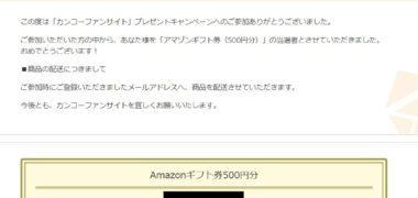 モニプラのキャンペーンで「Amazonギフト券 500円分」が当選
