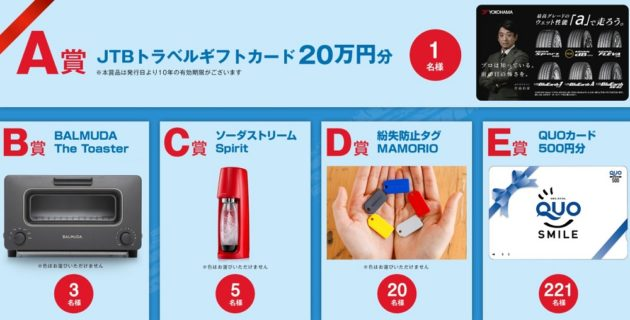 横浜ゴムの「雨の日の安心感が違う 雨の日ドライブクイズ プレゼントキャンペーン