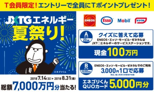 JXTGエネルギーの「JXTGエネルギー 夏祭り!~総額7,000万円分当たる!」キャンペーン