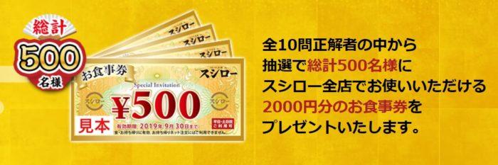 スシローの「500店舗達成記念!ヒストリークイズ!」キャンペーン