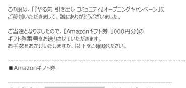やる気 引き出しコミュニティで「Amazonギフト券 1,000円分」が当選