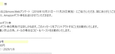 るるぶ&more.のアンケートで「Amazonギフト券 500円分」が当選