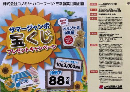 コノミヤ・ハローフーヅ・三幸製菓「サマージャンボ宝くじ プレゼント