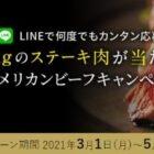 Wチャンスもアリ!ステーキ肉1kgが当たるキャンペーン☆