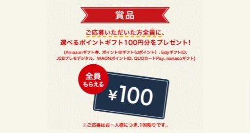 全員当たる100円分プレゼントキャンペーン!!